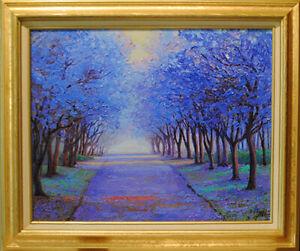 Jacaranda-alley-Original-framed-oil-on-canvas-16-034-x20-034-impressionistic-painting