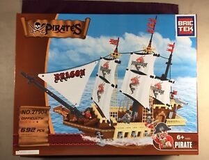 Bric-Tek-Brictek-Pirates-Dragon-White-Pirate-Ship-692-Pcs-27904-Brand-New