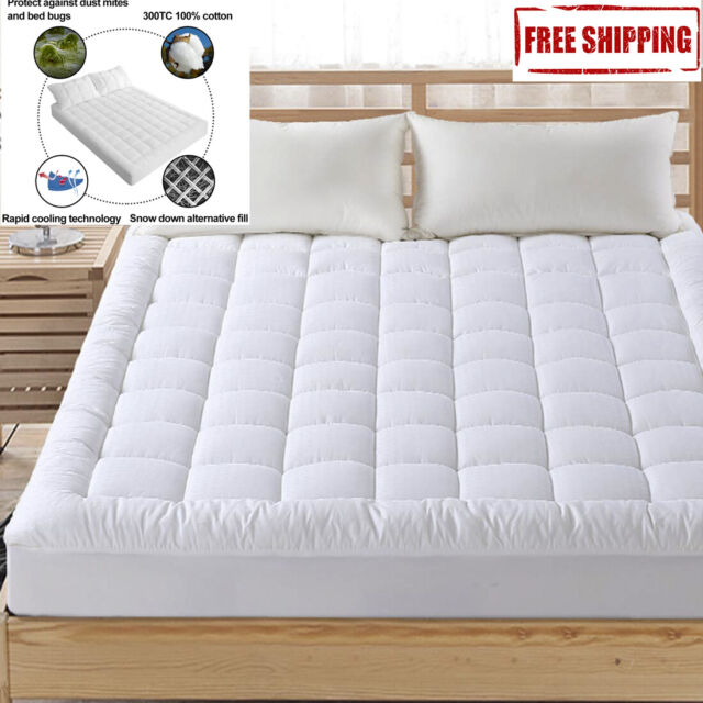 Pillow Top Mattress Cover Queen Size Bed Topper Pad Soft