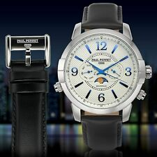 NEW Paul Perret 12183 Men's Swiss Moonphase Anatole Series Date White/Blue Watch
