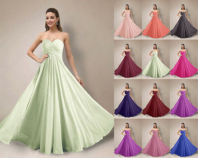 Formal Bridesmaid Dresses Long Prom Chiffon Wedding Evening Party Gowns 6-26