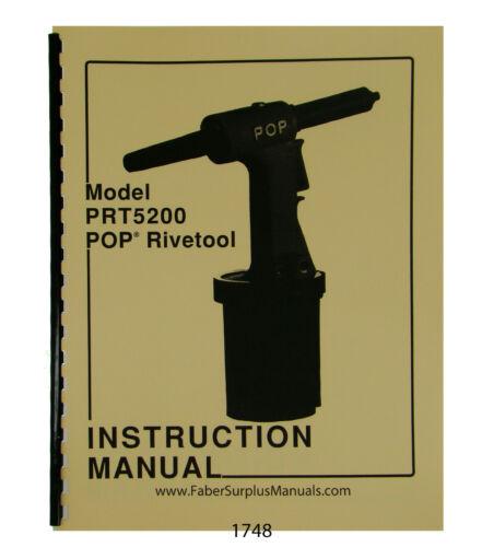 POP Model PRT-5200 Rivetool Instruction /& Parts Manual #1748