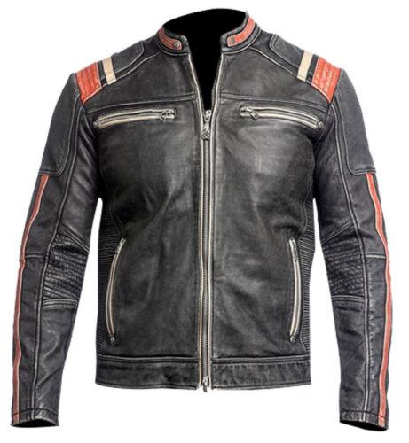 véritable en Retro 3 Biker et pour hommes Racer cuir vieilli Cafe Veste qEd0YE