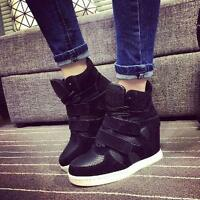 Womens Fashion Hidden Heel Sneaker Strappy High Top Wedge Ankle Boots Shoes Size