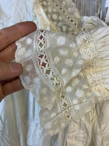 2 Antique VICTORIAN Long CHEMISE Nightgowns Polka