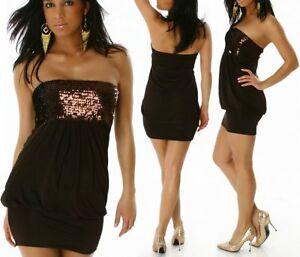 Sexy Damen Bandeau Glitzer Mini Kleid Dress Pailletten S/M ...