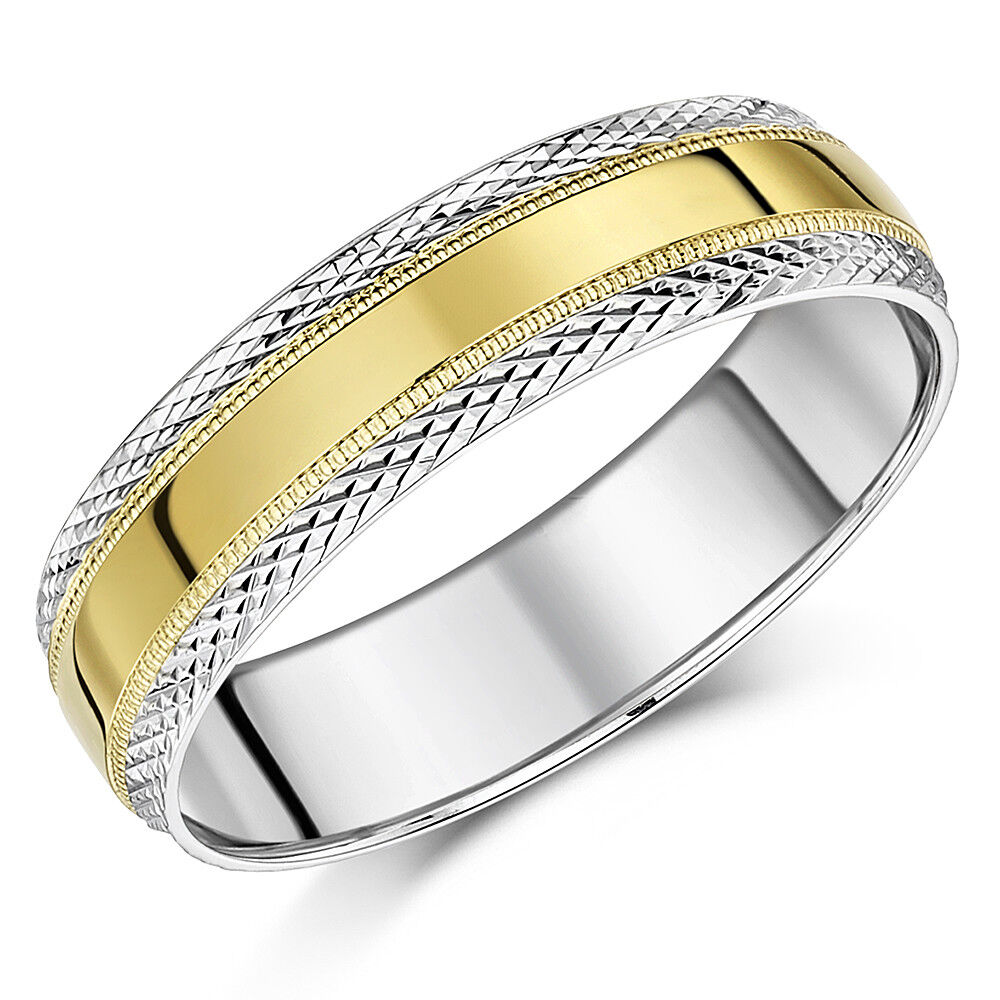 9 Karat yellowgold & whitegold Hochzeit Ring Paternd Zweifarbig 4mm 6mm Ehering
