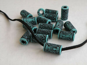 (20) 16.5mmx9mm Turquoise Blue and Black Acrylic Tube Barrel Beads NOS