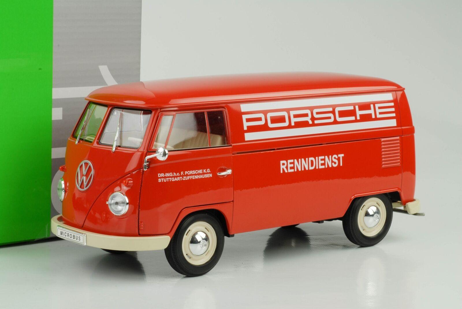 1963 Volkswagen VW T1 Bus Porsche Racing Service Red 1 18 Welly