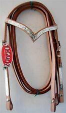 Showman Western Headstall Bridle Reins 'V' Browband Silver trims Natural