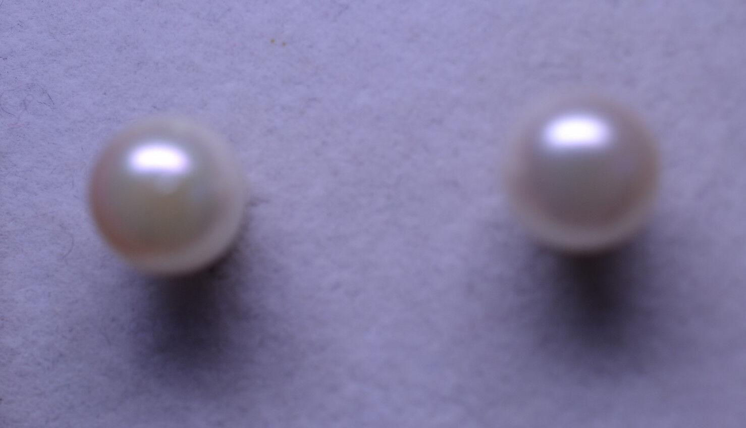14K YELLOW gold 7.9 MM PEARL STUD PIERCED POST EARRINGS