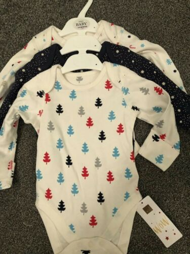 M/&S Babies 3 Pack Christmas Bodysuits BNWT Age 3-6 Months Long Sleeve 100/%cotton