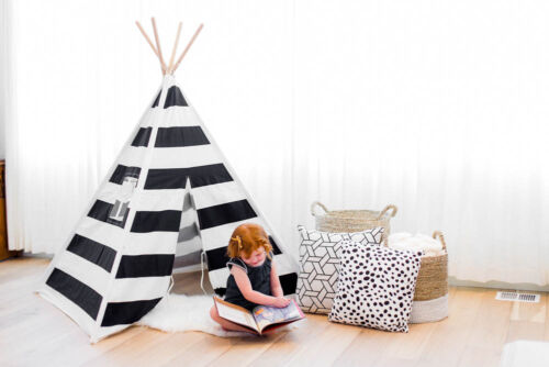 Children's Play Teepee QUALITY stripe print fabric with bamboo poles 6' tall!