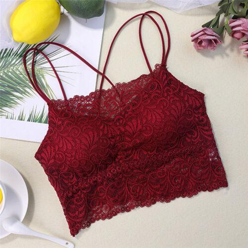 Women Lace Bra Bralette Seamless Unpadded Flower Bra Crop Top Lined Bustier rE