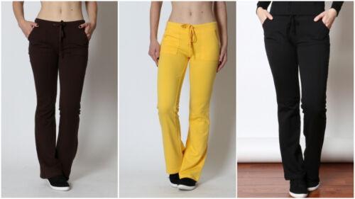 New Women/'s 4 Pocket Terry Knit Drawstring Sweatpants