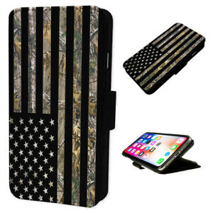 Camo Hunting Usa Flag Flip Phone Case Wallet Cover Fits Iphone Samsung Ebay