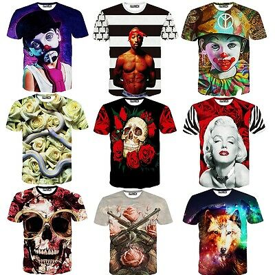Summer Men T Shirt 3D Print Snake Rose Skulls Lion Short Sleeve Casual T-shirt