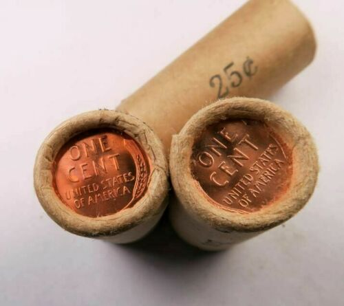 Tails-Tails OBW Sealed Wheat Penny Half Roll //// Gem BU RED //// 25 coins