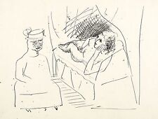 A.R. PENCK - Dame mit Hut vor liegendem Akt - Federzeichnung 1960