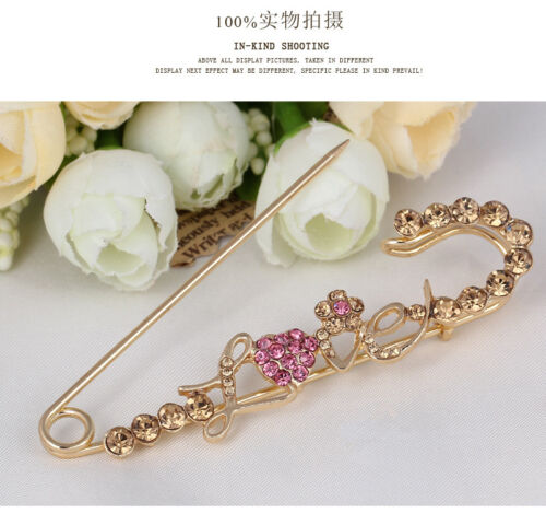 New Gold Strass Cristal Amour Coeur Broche Broche Mariage Fête Fashion Jewelry
