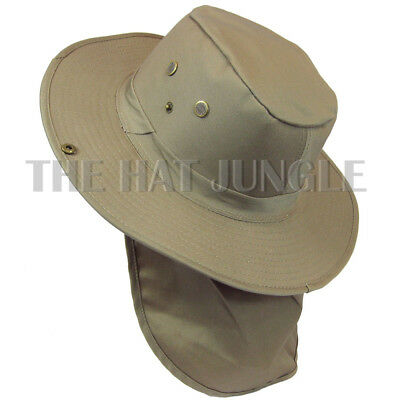 Boonie Hat With Neck Flap Fishing Hiking Outdoor Cap Snap Wide Brim Navy Blue