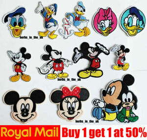 Mickey Mouse Girl Disney Minnie Donald Duck Iron on Applique Patch Badge