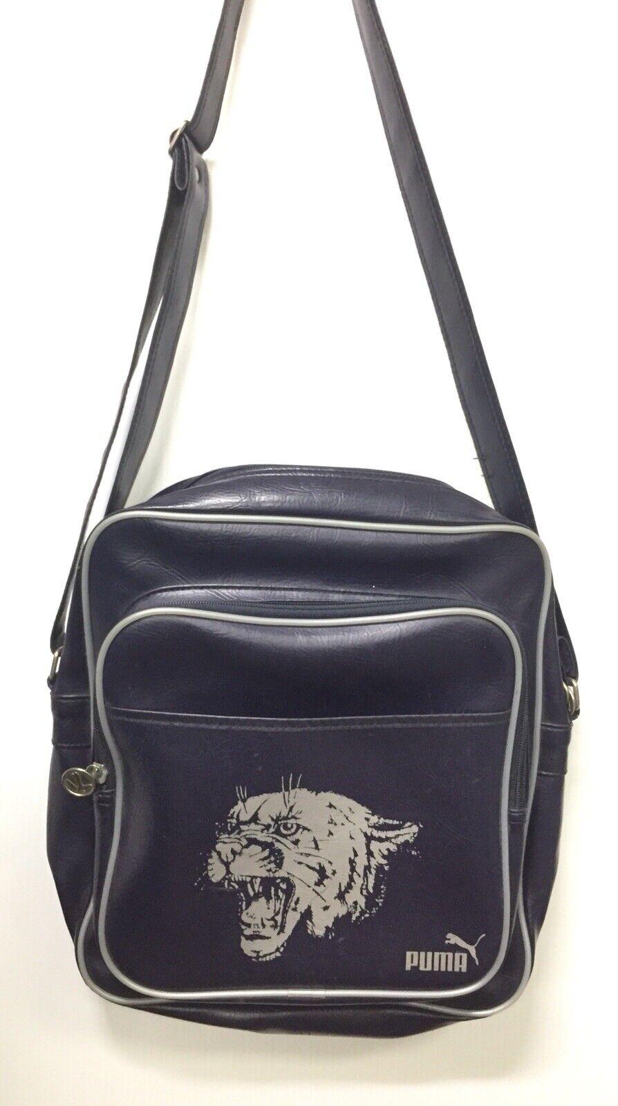 Vintage PUMA Blau Vinyl Sports Shoulder Bag Cat Graphic