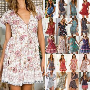 Women-Floral-Summer-Casual-Tea-Dress-Boho-Holiday-Beach-Party-Mini-Wrap-Sundress