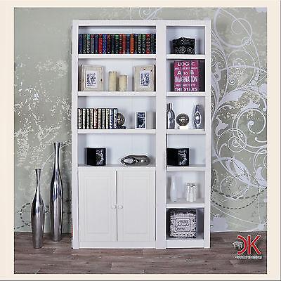 Standregal Türen  Wand Regal Bücherregal Schrank Kiefer Massivholz weiß lasiert