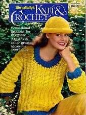Simplicity Knit Crochet Fashions Afghan Sweater Dress Hat Scarf Home Baby 1980