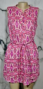 CYNTHIA-ROWLEY-Purple-Tan-Pink-Patterned-Linen-Sleeveless-Dress-8-Lined