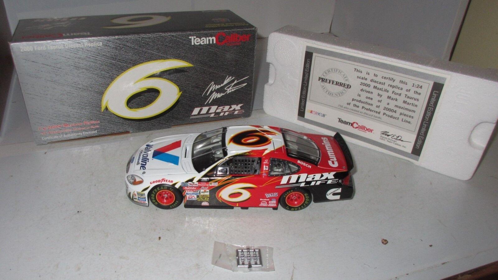 JR 'S 1 24 Team Caliber propriétaires série 2000  6 Max Life Ford Taurus Mark Martin