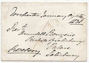 * 1838 ROSEBERY FREE FRANK DORCHESTER PENNY POST & No 2 R/H TO BISHOP SALISBURY