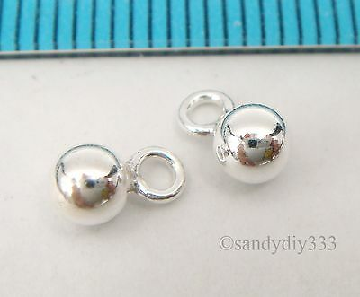 50x STERLING SILVER BRIGHT DANGLE BALL CHARM PENDANT 4mm #2433H