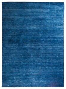 60x40cm-Tapis-Gabbeh-Bleu-Fonce-Uni-Monochrome-Tisse-a-la-Main-Laine-Entree
