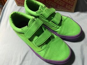 a9b7e4d4d8c Vans Old Skool V Cosplay Kids 10.5 Green Purple Skate Shoes New ...