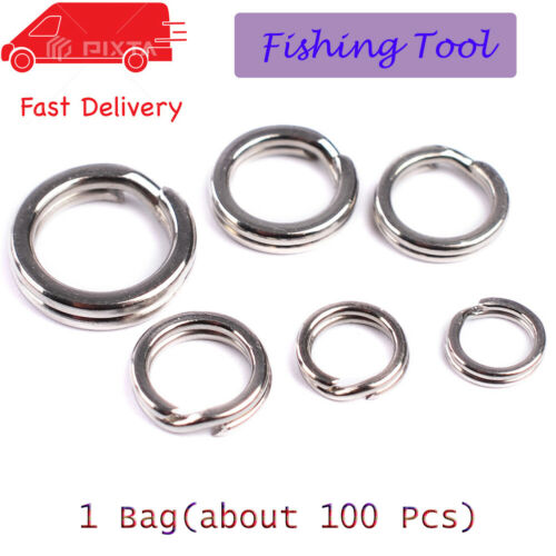 100Pcs Fishing Solid Stainless Steel Snap Split Ring Lure Tackle Connector NICE