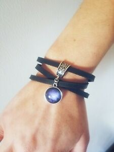 womens-handmade-gorgeous-galaxy-gem-on-black-leather-wrap-bracelet