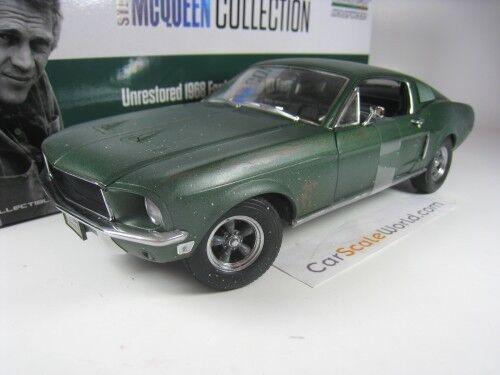 FORD MUSTANG GT 1968 UNRESTOrosso  BULLITT STEVE MCQUEEN  1/18 verdeLIGHT