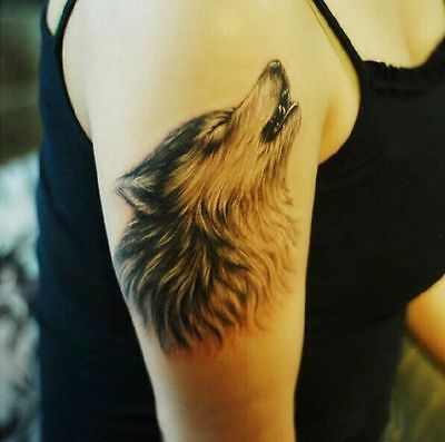 Lone Wolf howl month Arm Temporary Tattoos waterproof Body Art Stickers F15