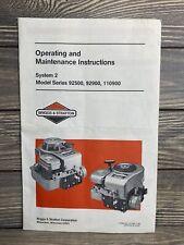 Vintage Instruction Manual Briggs Amp Stratton Motor Models 92500 92900 110900