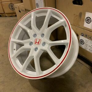 "18"" 2018 FK8 CIVIC TYPE R STYLE WHEELS RIMS WHITE RED FITS ..."