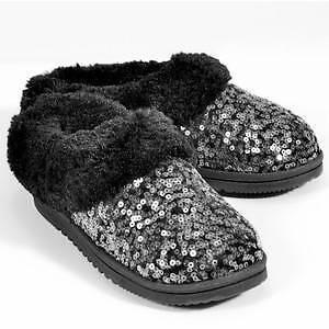 "NEW Women's Dearfoams ""Sequin Velour Clog"" -WAS !- sz 5/6 Black scuff slipper"