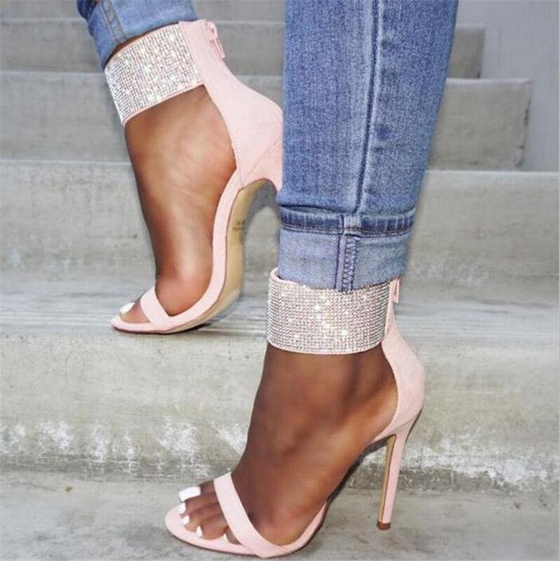 Mujer Gladiador Rhinestone correa de tobillo Sandalias de zapatos de taco alto zapatos de Sandalias Color rosadodo f8c999