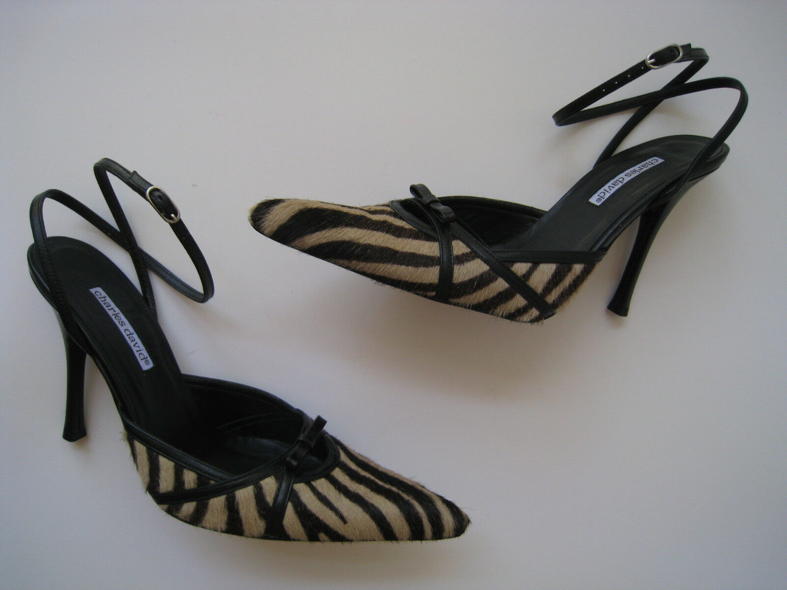 CHARLES DAVID PONY HAIR LEATHER POINTED TOE ANKLE STRAP PUMP SIZE 10B HOT SPAIN
