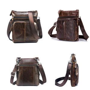 c39ff4cf8409 Image is loading Men-Travel-Genuine-Vintage-Brown-Leather-Messenger-Shoulder -