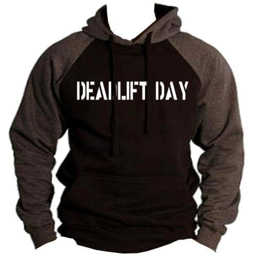 Men/'s Deadlift Day Black//Charcoal Raglan Hoodie Workout Fitness Gym Beast V179