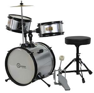 New Silver Drum Set Junior Childrens Complete Child Kids