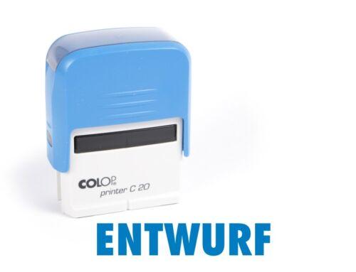 #1161 Stempel ENTWURF blau COLOP Printer C20 Selbstfärber Büro Text Automatik