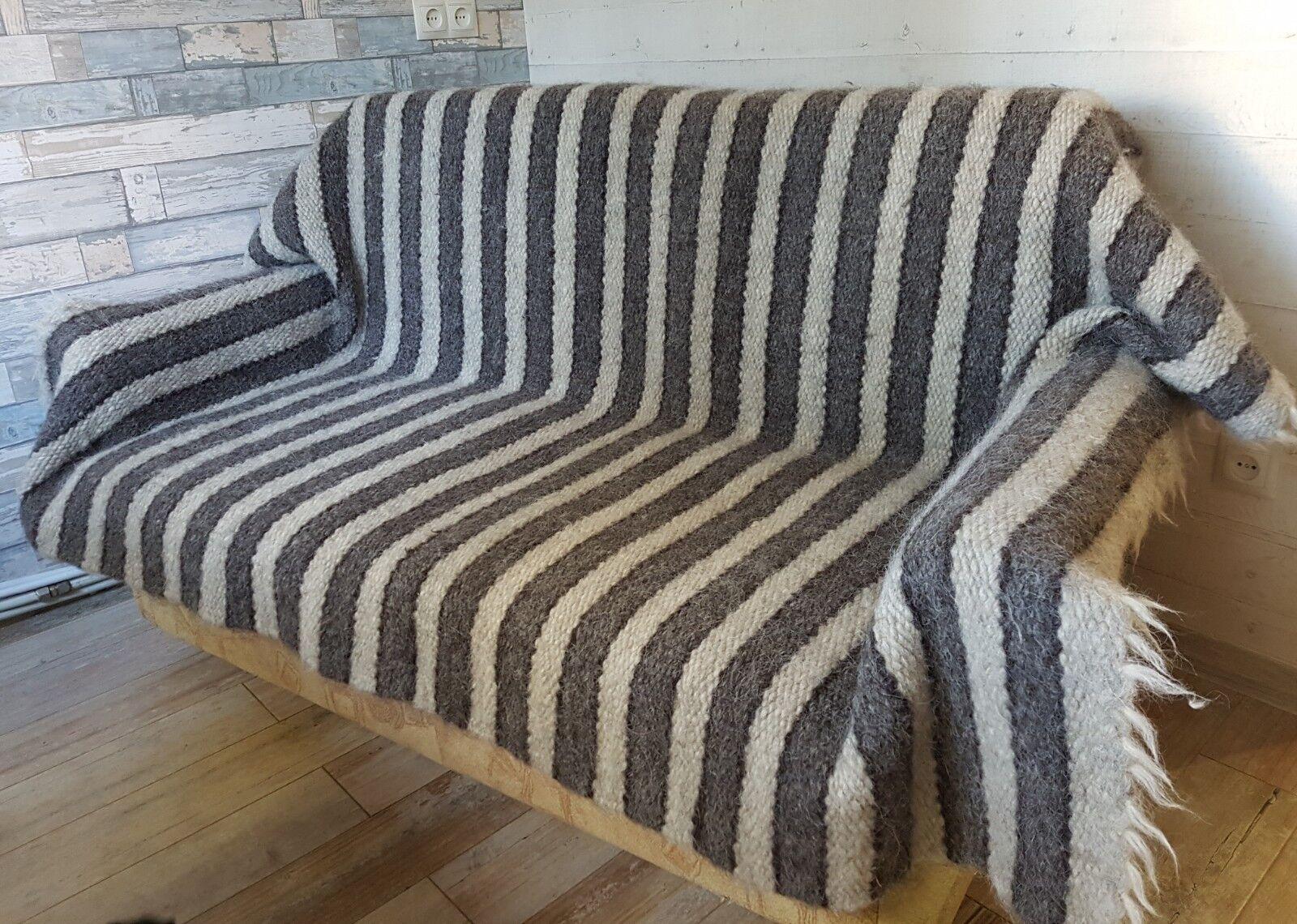 Traditional Hutsul PURE Sheep WOOL hand woven Eco Blanket Plaid Rug 145195 cm